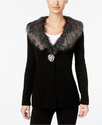 JM Collection Faux-Fur-Collar Brooch Cardigan, Only at Macy's $79.50 thestylecure.com