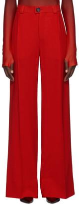 Kwaidan Editions Red Fluid Wool Wide-Leg Trousers