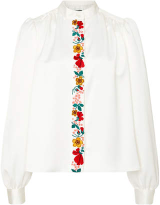ALEXACHUNG Embroidered Crepe De Chine Blouse