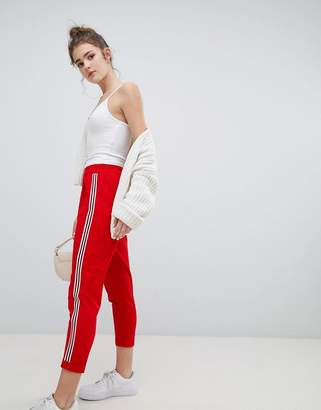 Bershka wide side stripe peg leg in red