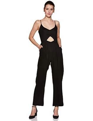 Oasis Wild Beachwear Women's V Neck Spaghetti Strap Cut Out Solid Jumpsuit Romper (