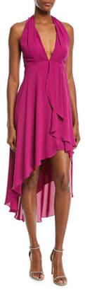 Halston High-Low Halter Cocktail Dress