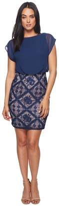 Adrianna Papell Floral Diamond Lace and Jersey Sheath Women's Dress
