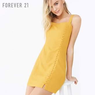 Forever 21 (フォーエバー 21) - Forever 21 リネンブレンドボタンワンピース