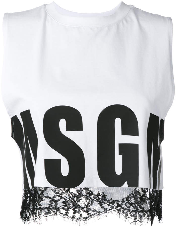 MSGM lace trim crop top