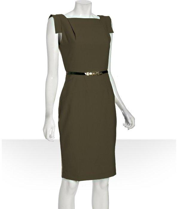 Single Dress Single olive stretch woven 'Victoria' belted sheath dress