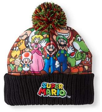 Super Mario Bros. Junior's Knitted Super Mario Characters Cuff Beanie with Pom