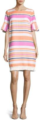 ECI Stripe Ruffle Cuff Shift Dress