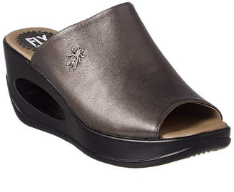 Fly London Hima Leather Wedge Sandal