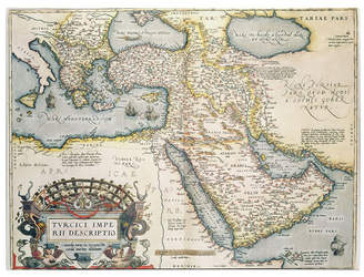 """Abraham Ortelius 'Map of the Middle East 1570' Canvas Art - 14"""" x 19"""""""