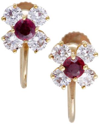 Tiffany & Co. Heritage  18K 1.35 Ct. Tw. Diamond & Ruby Earrings