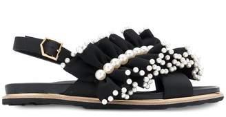 SUECOMMA BONNIE Pearl ornaments ruffle sandals