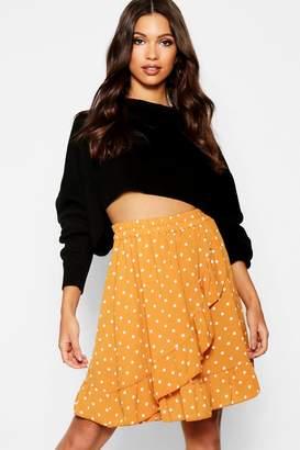 boohoo Woven Polka Dot Ruffle Mini Skirt