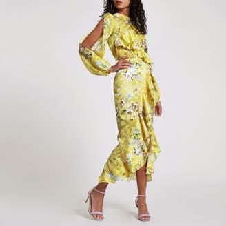 River Island Womens Yellow floral frill wrap midi skirt