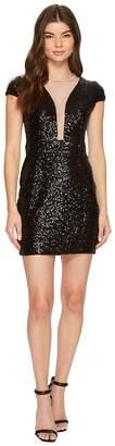 Aidan Mattox Cap Sleeve Sequin Dress Women's Dress
