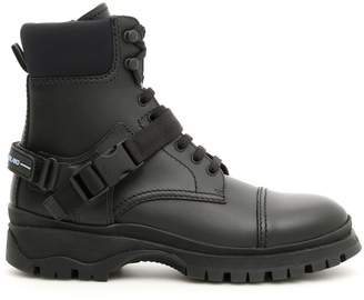 Prada Logo Combat Boots