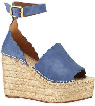 Chloé Suede d'Orsay Espadrille Sandal, Blue