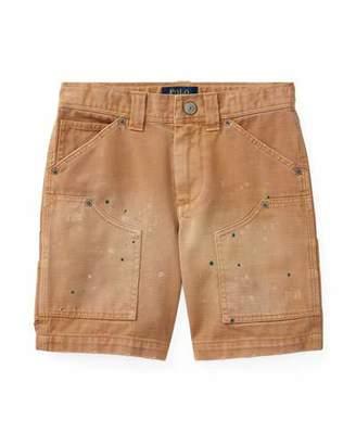 Ralph Lauren Montauk Chino Carpenter Paint-Splatter Shorts, Beige, Size 5-7