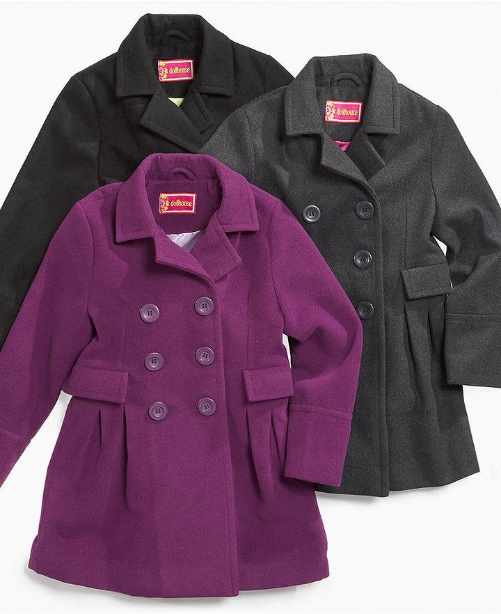 Dollhouse Kids Jacket, Little Girls Wool Pea Coats