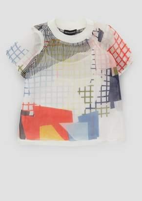 Emporio Armani Voile Cotton T-Shirt With Geometric Prints