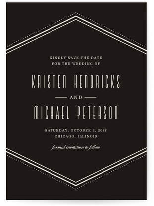 Classic Hexagon Save the Date Custom Selflaunch Stationery