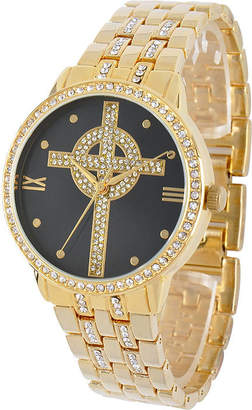 Celtic FINE JEWELRY Personalized Crystal-Accent Gold-Tone Cross Watch