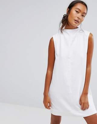 WÅVEN Ditte Denim High Neck Shift Dress