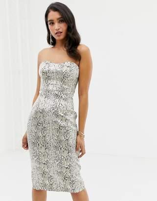 Forever New metallic snake jacquard bandeau mini dress