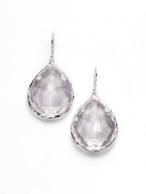 IPPOLITA Rock Candy Clear Quartz & Sterling Silver Large Teardrop Earrings