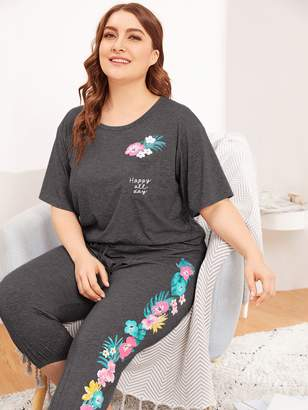 Shein Plus Pocket Patched Heathered Knit Top and Pant PJ Set