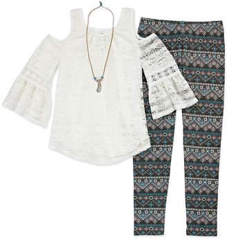 Knitworks Knit Works Lace Cold Shoulder Top Legging Set with Necklace - Girls' 4-16 & Plus