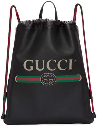 Gucci Black Leather Logo Drawstring Backpack