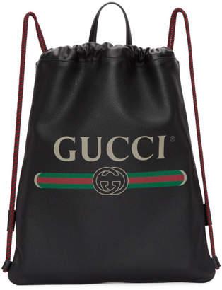 Gucci Black Leather Logo Drawstring Backpack