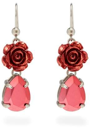 Prada Rose Drop Earrings - Womens - Pink
