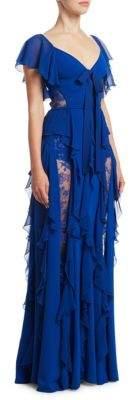 Elie Saab Knit Crepe Lace Gown