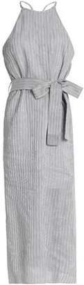 Halston Pinstriped Linen Cotton And Silk-Blend Midi Dress