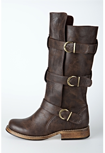 Distressed Leather Moto Boot