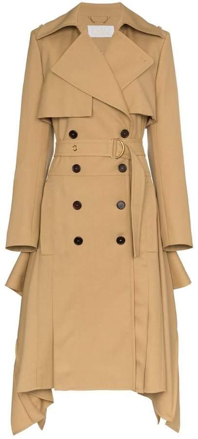 Asymmetric hem belted wool trench coat