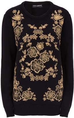 Dolce & Gabbana Brocade Embroidery Cashmere Sweater
