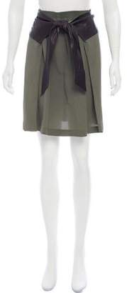 Damir Doma Leather-Trimmed Knee-Length Skirt w/ Tags