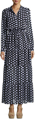 MICHAEL Michael Kors Lottie Long-Sleeve Polka-Dot Tiered Maxi Dress, Black $195 thestylecure.com