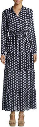 MICHAEL Michael Kors Lottie Long-Sleeve Polka-Dot Tiered Maxi Dress, Black $195 thestylecure.com