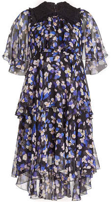 Philosophy di Lorenzo Serafini Printed Silk Chiffon Dress with Ruffles