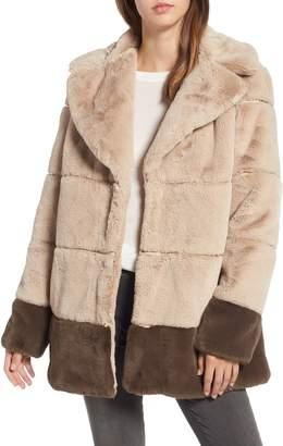 Rachel Roy Colorblock Panel Faux Fur Jacket