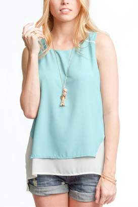 She + Sky Dusty Mint Top