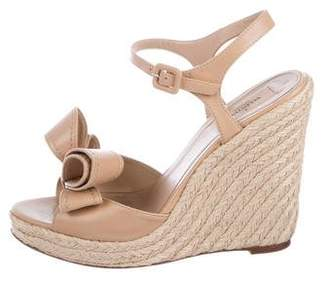 Valentino Leather Bow Wedge Sandals