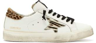 Golden Goose Superstar Leopard Print Leather Low Top Trainers - Womens - White Multi