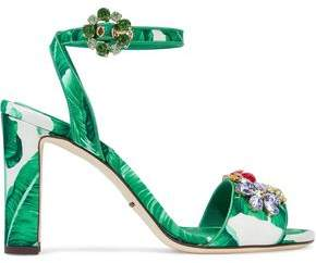 Dolce & Gabbana Embellished Printed Satin Sandals