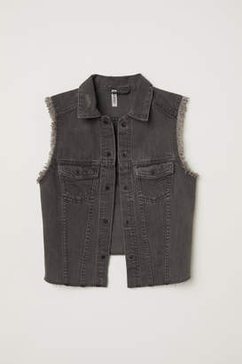 H&M Embroidered Denim Vest - Gray