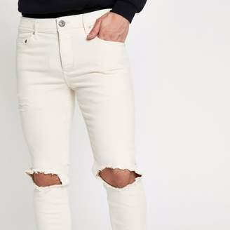River Island Mens Cream Sid ripped Skinny jeans